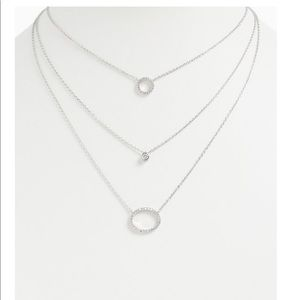 SILVER-TONE PAVE CIRCLE LAYERED NECKLACE